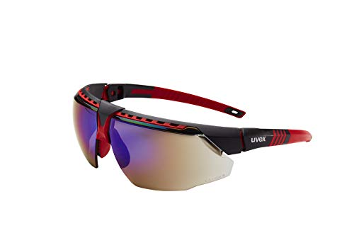 Uvex by Honeywell Avatar Safety Glasses, Red Frame with Blue Mirror Lens & Anti-Scratch Hardcoat ()