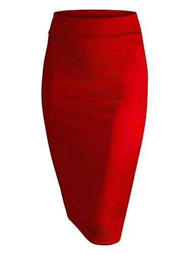 WB700 Womens Scuba Midi Skirt L RED