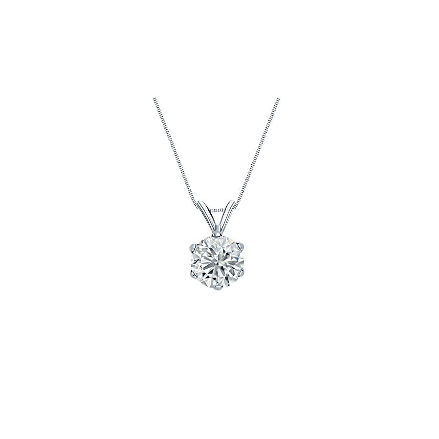 14k White Gold 6 Prong Basket Round Diamond Solitaire Pendant (1/5 1 cttw, G H, SI2 I1)