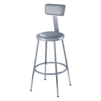 Adj Stool - National Public Seating 25-33 Inch Gray Frame Stool ADJ Height Padded Seat w/ ADJ Backrest in Gray [Set of 4]