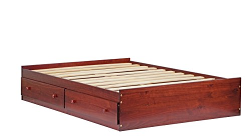 (100% Solid Wood Kansas Full Mate's Platform Storage Bed by Palace Imports, Bed Only, Mahogany Color, 15