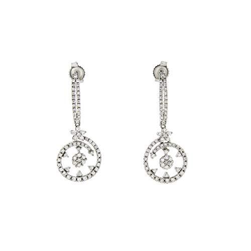 (Roberto Coin Diamond Drop Earrings in 18K White Gold)