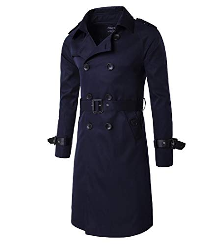 Parka blue Collar Double Turn Breasted Coat Navy Men Fit Khaki Jackets Howme Down a7xzqw