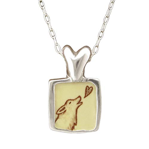 Runs With Wolves Necklace Reversible 925 Sterling Silver and Enamel on Chain for Women