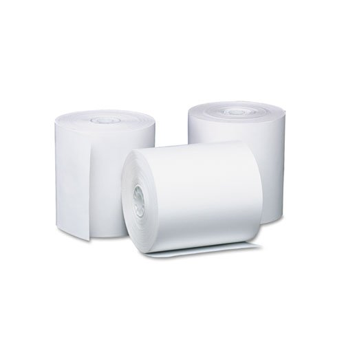 PM Company Preprinted Single-Ply Thermal Cash Register/POS Roll, 3-1/8'' x 230 ft, Wht, 8/Pk