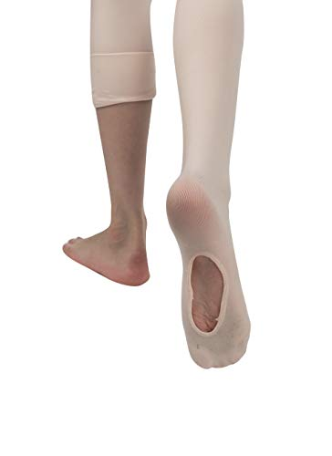 - ficello Transition Convertible Dance Ballet Pink Tights for Girls - Stretchable Ballerina Leggings.S-M