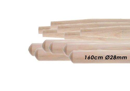 10x Besenstiele aus Kiefernholz 160cm Ø 28mm, mit Konus werkstattbedarf.de