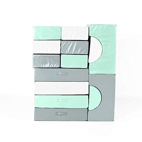 Foamnasium Block Party, 14 Piece Set, Mint/Pewter/White