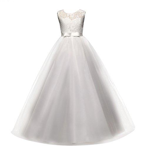 (Yaphyee Flower Girls Sleeveless Long Pageant Dresses Maxi Lace Gown Kids Formal Wedding Bridesmaid Princess Dress Big Girls Summer First Communion Party Prom Puffy Tulle Skirt White Size 13-14 Years)