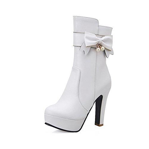 Allhqfashion Womens Hoge Hakken Ronde Gesloten Teen Pu Mid-top Stevige Rits Laarzen, White-bows, 40