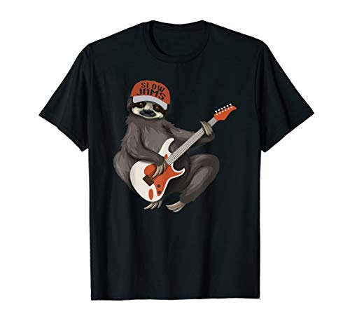 Sloth Playing Guitar Slow Jams Vintage Sloths Lover Tshirt