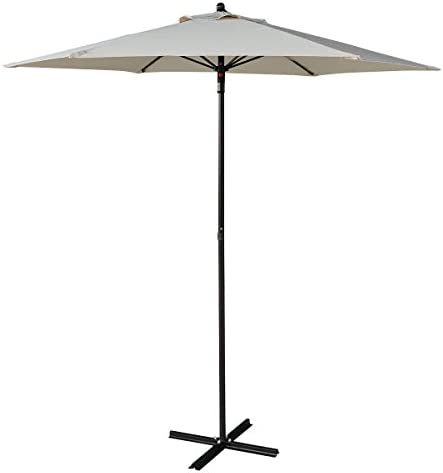 Tangkula 7.5FT Outdoor Umbrella Beach Shade with Cross Base Garden Lawn Pool Durable Polyester Stable Base Sun Snow Rain Shelter with Push-Close Button Commercal Home Outdoor Patio Umbrella Beige