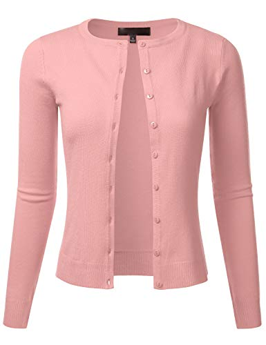 (FLORIA Women's Slim Fit Long Sleeve Button Down Crew Neck Knit Cardigan Sweater PEACHBEIGE L)