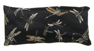 Organic Lavender Silk Eye Pillow with Black Dragonfly Design - Lavender Silk Eye