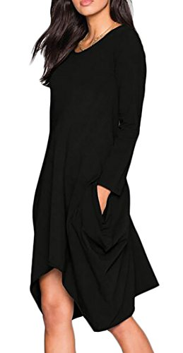 Cruiize Manches Solides Irrégulières Des Femmes De Crewneck Élégante À Long T-shirt Robe Noire