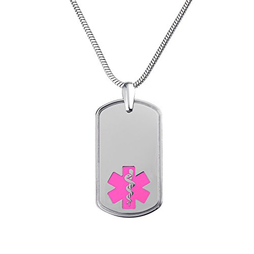 (Divoti Deep Custom Laser Engraved Deluxe CP2 Pure Titanium Medical Alert Necklace -Dog Tag-24 Stainless Snake Chain -Pink)