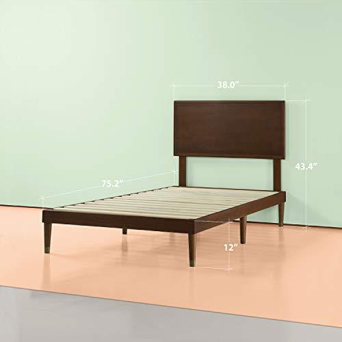 Zinus Deluxe Mid-Century Wood Platform Bed with Adjustable height Headboard, no Box Spring needed, Twin