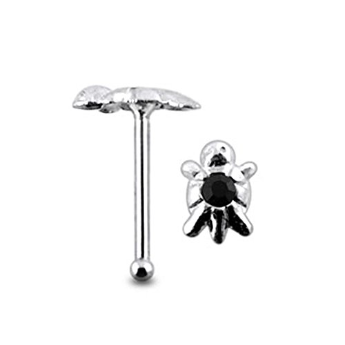 Black Jeweled Turtle Top 22 Gauge - 6MM Length Silver Ball End Nose Stud Nose Pin