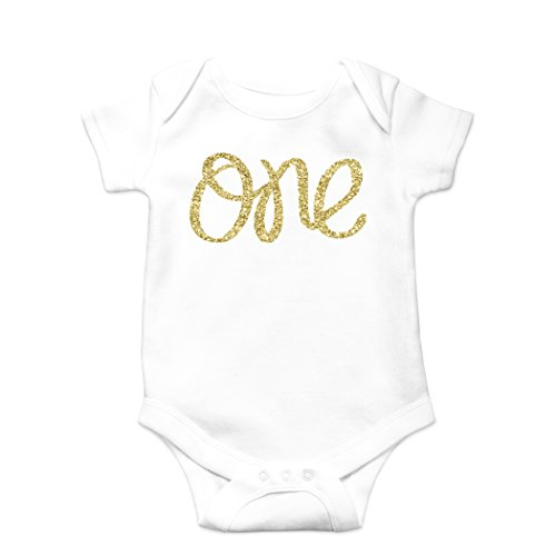 (Olive Loves Apple Baby Girls First Birthday Bodysuit Sparkly Gold One Girls 1st Birthday Outfit,White Bodysuit,12 18 short sleeve )