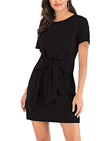 82ef85b9 MIDOSOO Womens Casual Round Neck Puff Sleeve Tie Knot Front Solid Pencil  Dress