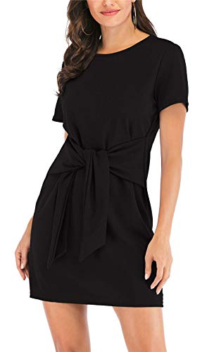 MIDOSOO Womens Solid Color Short Sleeve Wear to Work Tie Knot Front Pencil Dress with Belt #2Black XL