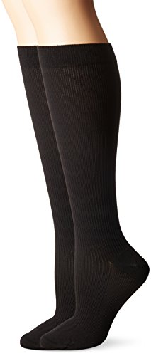 Dr. Scholl's Women's Travel Knee High Socks with Graduated Compression, Black (2 Pack), Shoe Size: ()