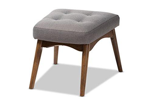 (Baxton Studio 424-7851-AMZ Shelby Mid-Century Modern Grey Fabric Upholstered Ottoman)