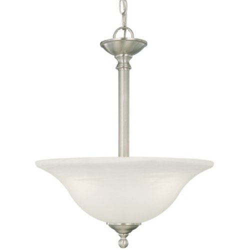Thomas Lighting SL8266-78 Riva Collection Three-Light Pendant Brushed Nickel Finish with Etched Alabster Style Glass - Etched Alabaster Style Glass Pendant