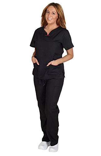 Contrast Trim Scrub Set - Natural Uniforms - Womens Active Uniforms Contrast Trim Top & Pant Set, Black, Hot Pink 31425-Small