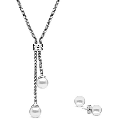 (The Gemseller 18k White Gold Plated 18in Lariat Necklace w/ 2 White Swarovski Pearls & 8mm Stud Earrings)