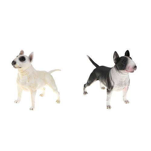 B Blesiya 2pcs Cute Bull Terrier Dog Animals Figure Toys Realistic Action Models Kids Educational Cognitive Statues Toy Home Decor