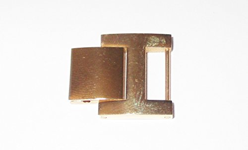 (Gold Stainless Steel H Foldover Clasp 10.7mm Fold Over Watch Bracelet Clasp Extender)