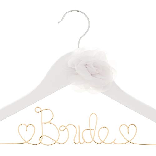 - Ella Celebration Bride to Be Wedding Dress Hanger Wooden and Wire Hangers for Brides Gowns, Dresses (White with Light Gold)