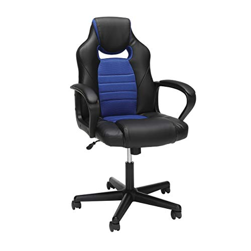 Essentials Gaming Chair - Racing Style Ergonomic Mesh and Leather Computer Chair, Blue (ESS-3083-BLU)