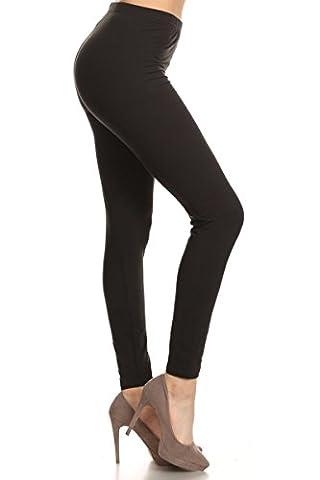 Leggings Depot Ultra Soft Women's Popular Best Printed Fashion Leggings Batch1 (Regular (Size 0-12), Solid Black)