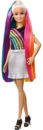 Barbie Rainbow Sparkle Hair Doll Featuring Extra-Long 7.5-Inch Blonde Hair with A Hidden Rainbow of Five Colors, Sparkle Gel and Comb and Hairstyling Accessories, Gift for 5 to 7 Year Olds