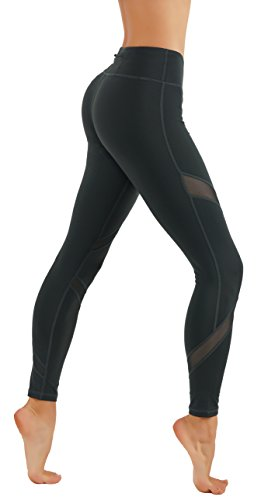 CodeFit Yoga Pants Power Flex Dry-Fit Cross Mesh Exposed Back Zipper for Storing Full Length Leggings (S USA 0-2, CF225-GRN)