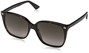 Gucci Women Design Sunglasses GG0022S 003 Havana Brown Gold With Dark lens