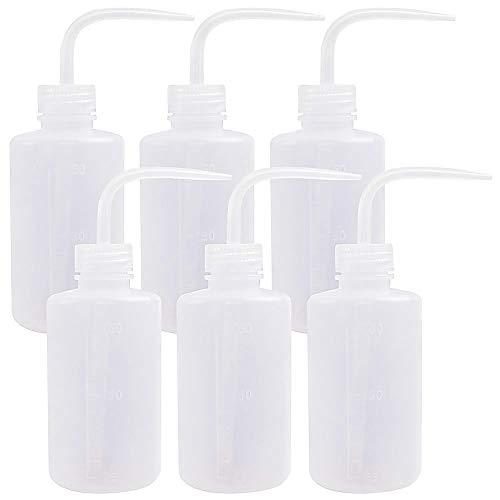 SUPERLELE 6pcs LDPE 250ml/8.5oz Safety Wash Bottle,Plastic Squeeze Bottle Medical Label Tattoo Wash ()