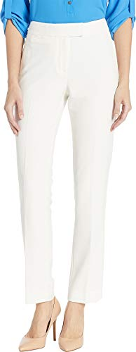 Tahari by ASL Women's Pebble Crepe Pants Ivory White 10 30.5