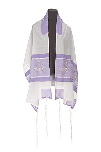 - Lilac Flowers Embroidered Women's Tallit, Bat Mitzvah Tallit, Girls Tallit from Israel