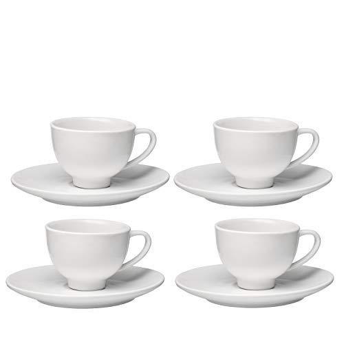 Francois et Mimi Set of 4 High-fire Pure White Porcelain Espresso Cup and Saucer by Francois et Mimi