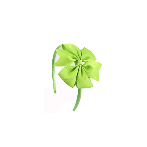 Headband Girls Bow Hairband Children's Pinwheel Hair Band with Grosgrain Ribbon Bow Handmade Solid Hair Accessories,Apple Green