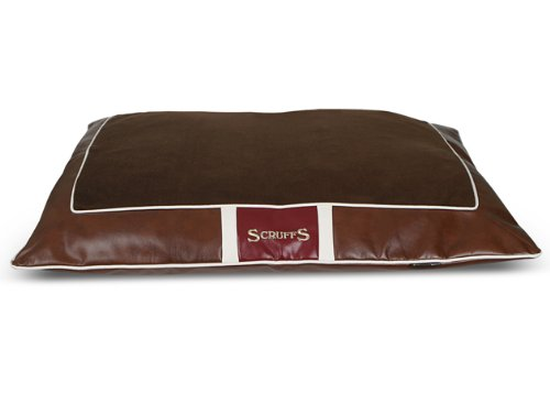 Scruffs Monaco Faux Leather Pet Bed Pillow, Brown