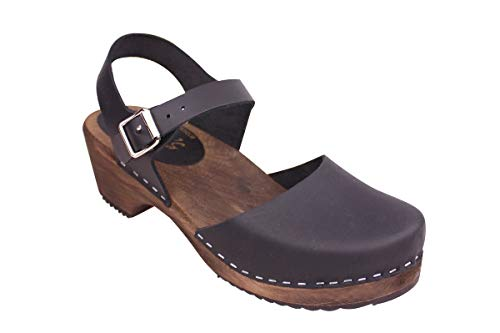 Lotta From Stockholm Swedish Clogs Low Wood in Black with Brown Sole-38 ()