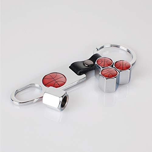 INCART Universal Steel (4pcs) Car Tire Valve Stem Air Caps Cover + (1pcs) Keychain Basketball Cool Classic Fashion Silver