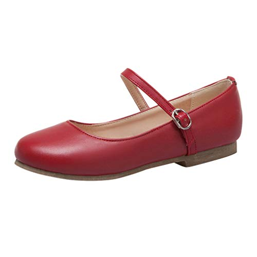 (KIKIVA Women Ballet Flat Mary Jane Low Heel Ankle Strap Dolly Shoes,8.5 M US,Red)