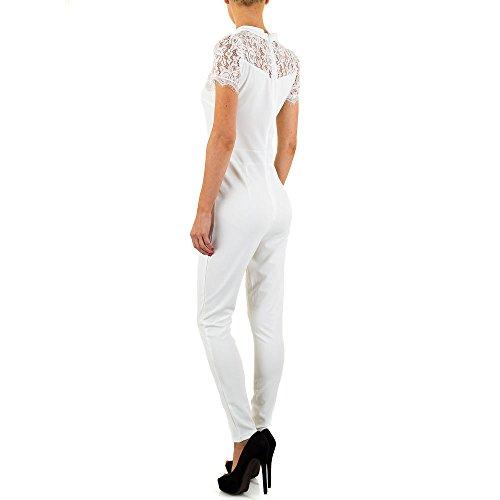 Spitzen Jumpsuit Overall Für Damen , Weiß In Gr. M bei Ital-Design