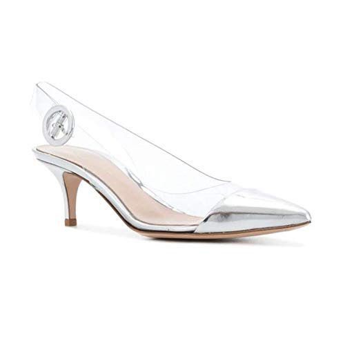 Single Word Silver Pointed 36 Sandals Transparent High Female Cat Heels With Back Silver White heels Female With Shoes High Yukun Stiletto Buckle Autumn wBpUYqOpnx
