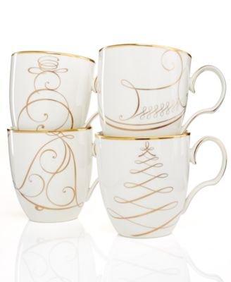 Noritake Golden Set of 4 Wave Holiday Mugs